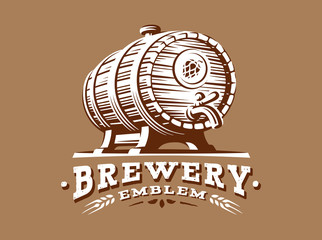 Wooden beer barrel logo - vector illustration, emblem brewery design on brown background