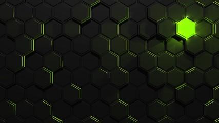 grünes leuchtendes Element in der Dunkelheit