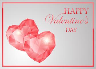 pink gemstone heart shape. Shiny stone design for valentine s day or wedding invitation card.