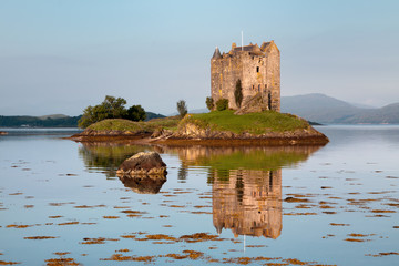 Castle Stalker, Appin, Argyll, Scotland is a well-preserved medieval tower-house situated on a tidal islet on Loch Laich.