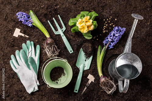 Spring garden works gardening tools and flowers on soil for The works garden tools