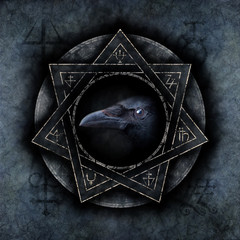 Crow Magic with a sinister crow head materialising within an elaborate circular emblem of mysterious and arcane occult symbolism.