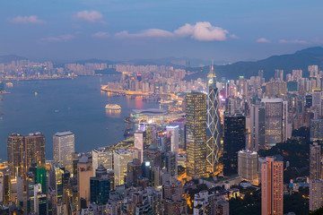 Aerial view Hong Kong city business downtown over Victoria Bay
