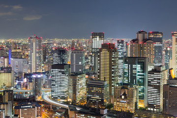 Nights lights, Osaka central business downtown, Japan