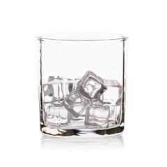Glass with ice cubes. Isolated on white background.