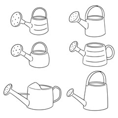 vector set of watering can