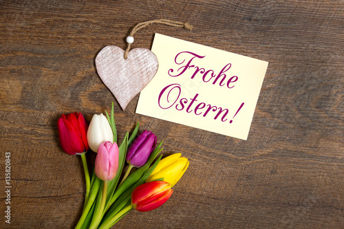 frohe ostern karte Tulpen und Karte: Frohe Ostern!