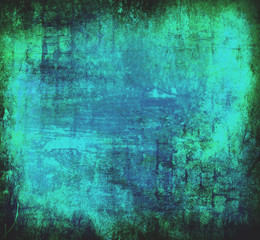 Art grunge background in blue and green colors