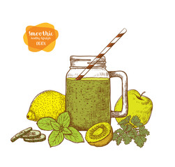 Smoothie. Detox water and drinks. Sketches of vegan food for cooking cards, stickers, labels, tags.