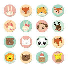 Cartoon icon collection with rabbit,fox,tiger,monkey,reindeer,pa
