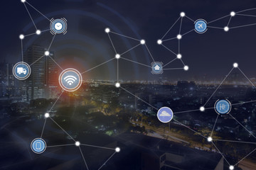 iot ,internet of things, smart city concept and wireless mesh communication network with a night city background