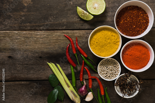 Spices with ingredients on dark background asian food for 7 spices asian cuisine