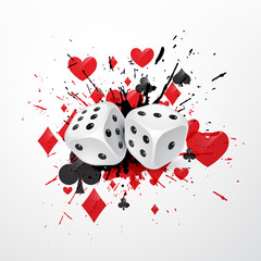 abstract dice background with splatter and playing card symbols