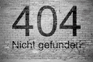 404 Error Toter Link (Nicht gefunden) Graffiti Ziegelsteinmauer