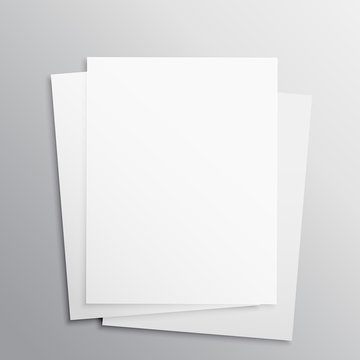 stack of three empty papers mockup template