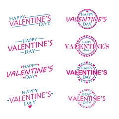 Shear and Circle Happy Valentines Day set, flat and cute Vector Design Isolated on white Background