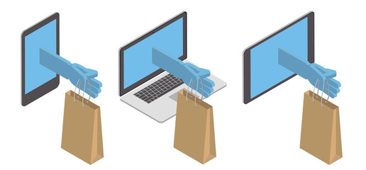 Concept, purchase, delivery of goods through the Internet. Delivery on the phone, tablet, PC. Vector isometric