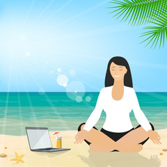 Business woman sitting on the beach meditating in the lotus position in the suit. Business tourism. Vector
