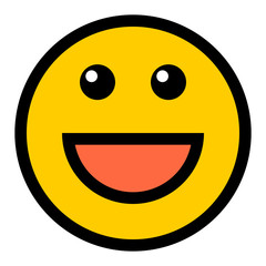 Happy Smiley Smiling Face Flat Style