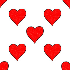 Seamless Pattern Red Heart