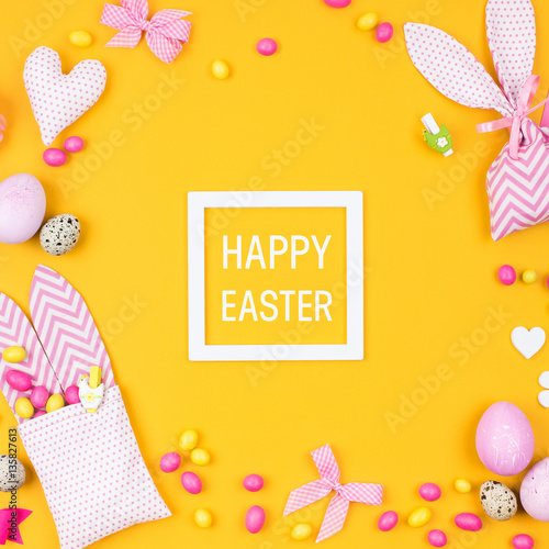 Happy easter greeting card flat lay stylish decoration pink and happy easter greeting card flat lay stylish decoration pink and yellow easter eggs negle Gallery