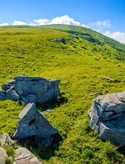 huge stones in valley on top of mountain ridge