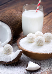 Coconut sweets and fresh coconut..