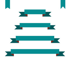 green flat ribbon banners set. Design retro vector illustration