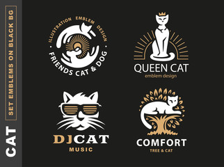 Set logo illustration with cats, emblem design on black background