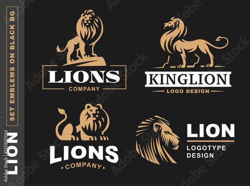 Lion logo set - vector illustration, emblem design on black background