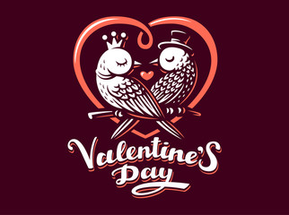 Happy Valentine Day Lettering with birds logo, vector illustration, emblem design on dark background