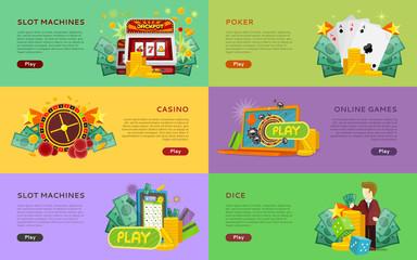 Slot Machines, Pocker, Online Games, Dice Banners.