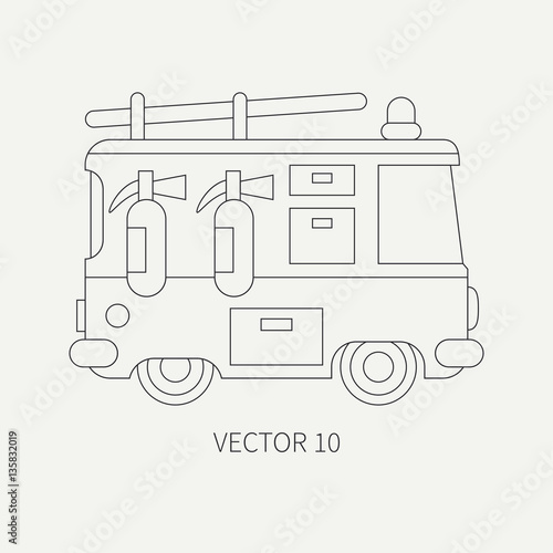 u0026quot line flat plain vector icon fire truck  emergency assistance vehicle  cartoon style  fireman