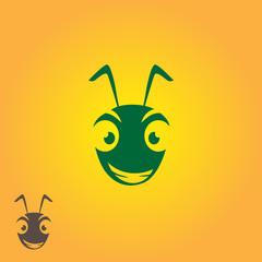 cartoon ant logo isolated illustration