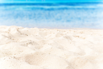 Beautiful soft waves of Blue Ocean with Sandy Beach Background c