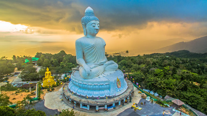 aerial photography  sunset at Phuket's big Buddha while raining is coming to big Buddha