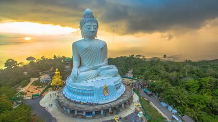 aerial photography  sunset at Phuket's big Buddha while raining is coming to big Buddha