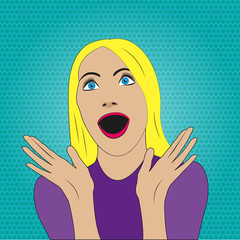 Surprised woman with open mouth in pop art style. Girl with emotion expression. Vector illustration.