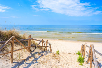 Entrance to sandy Lubiatowo beach, Baltic Sea, Poland