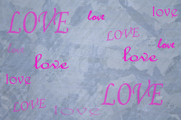 words of love on wall grey