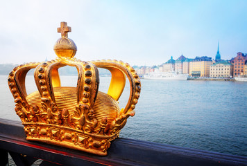 Poster Stockholm Royal crown and Stockholm cityscape at morning, Sweden, retro toned