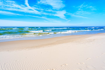 Fototapete - White sand and beautiful sea on Debki beach, Baltic Sea, Poland