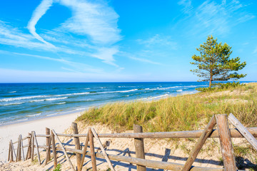 Fototapete - Entrance to sandy Bialogora beach, Baltic Sea, Poland