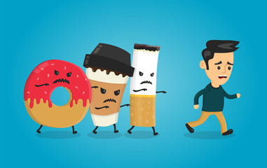 Angry donut, coffee paper cup and cigarette runs over man guy. Nightmare for health. Vector flat cartoon character isolated illustration. Healthcare concpet