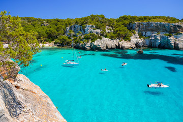 Fototapete - View of beautiful bay of Cala Macarelleta, Menorca island, Spain