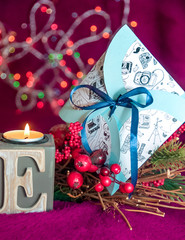Beautiful candles and love letters. Gift for Valentine's Day.