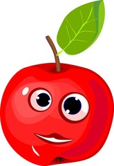 Funny red apple with green leaf