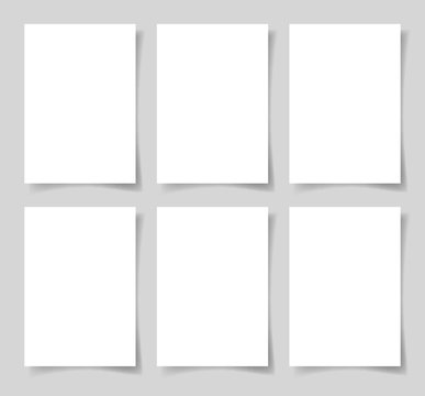 6 pieces blank A4 sheet of white paper with the shadow