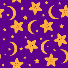 Seamless pattern with night stars and moon