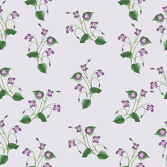 Delicate clumps of violets.The Symbol Of Montmartre. Seamless pattern. Design for textiles, tapestries, gift packaging for confectionery and perfumes.